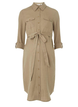 Womens **Maternity Khaki Linen Shirt Dress- Khaki