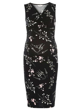 Womens **Maternity Black Floral Sleeveless Pencil Dress- Black