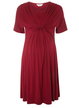 Womens **Maternity Berry 'Nursing' Knot Skater Dress- Red