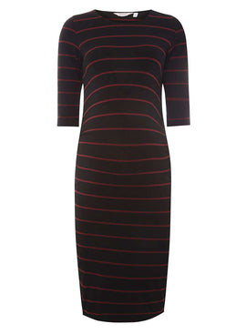 Womens **Maternity Multi Coloured Striped Bodycon Dress- Multi Colour