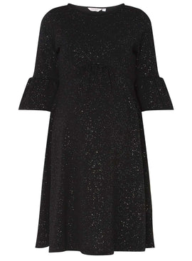 Womens **Maternity Black Flute Sleeve Skater Dress- Black
