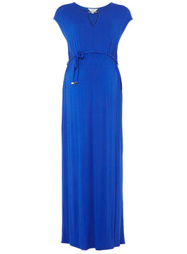 Womens **Maternity Cobalt Jersey Maxi Dress- Cobalt