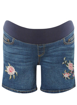 Womens **Maternity Blue Embroidered Shorts- Blue