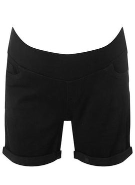 Womens **Maternity Black Under Bump Shorts- Black- Black