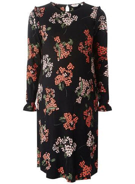 Womens **Maternity Blossom Print Ruffle Sleeve Shift Dress- Black- Black