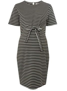 Womens **Maternity Black Striped Shift Dress- Multi Colour- Multi Colour