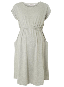 Womens **Maternity Grey Pocket T-Shirt Dress- Grey