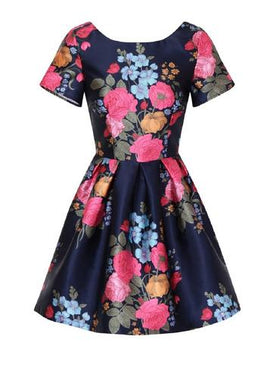 Womens *Chi Chi London Petite Blue Floral Print Mini Prom Dress- Blue- Blue