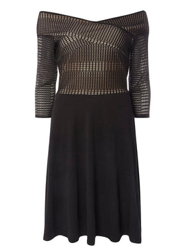 Womens **Tall black lace bardot dress- Black