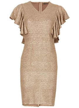 Womens *Tenki Gold Party Bodycon Dress- Gold- Gold