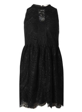 Womens **Voulez Vous Black High Neck Lace Dress- Black
