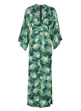 Womens *Blue Vaniila Green Printed Kimono Maxi Dress- Green- Green
