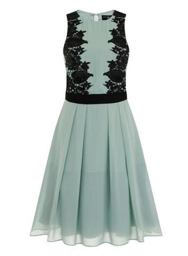 Womens **Little Mistress Sage and Black Lace Prom Dress- Green- Green