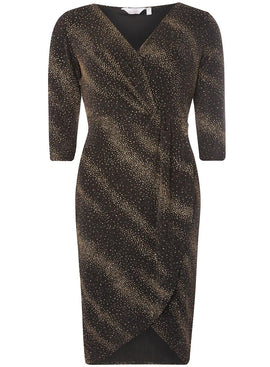Womens Petite Gold Sparkle Wrap Dress- Gold