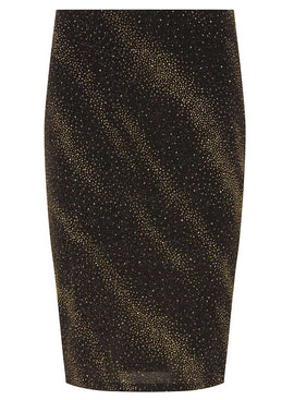 Womens Petite Gold Shimmer Black Tube Skirt- Gold