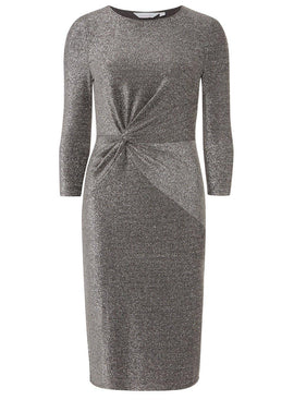 Womens Petite Silver Knot Front Dress- Silver