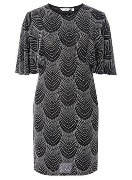 Womens Petite Silver Angel Sleeve Bodycon Dress- Silver- Silver