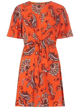 Womens Petite Orange Paisley Print Fit and Flare Dress- Orange- Orange