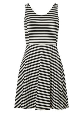 Womens Petite Black Striped Jersey Fit and Flare Dress- Black- Black