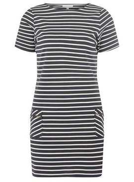 Womens Petite Navy and White Striped Shift Dress- Blue- Blue