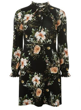 Womens Petite Black Floral Print Fit and Flare Dress- Black- Black