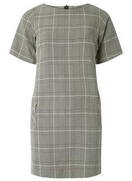 Womens Petite Multi Coloured Checked Shift Dress- Grey/Pink- Grey/Pink