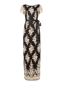 Tahari ASL Occasion Embroidered Evening Gown With A Satin Ri- Multi-Coloured