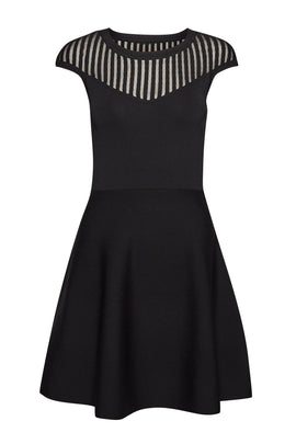 French Connection Rose Crepe Knit Dress- Black