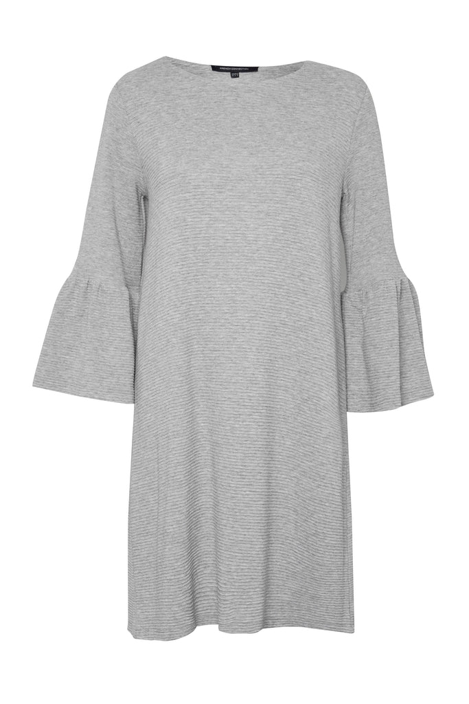 French Connection Paros Sudan Flared Sleeve Dress- Grey