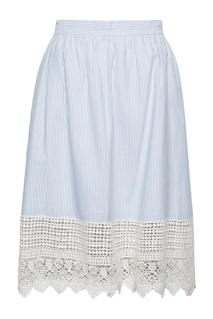 French Connection Nuru Schiffley High Waisted Lace Skirt- Blue
