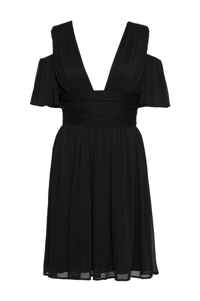 French Connection Constance Draped Cold Shoulder Midi Dress- Black