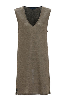 French Connection Leah Metallic Sleeveless Tunic Dress- Gold