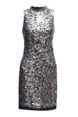 French Connection Moon Rock Sparkle Dress- Silverlic