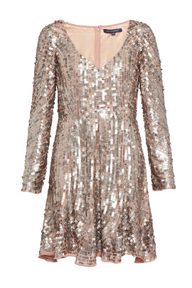 French Connection Aurelie Sequin Long Sleeve V Neck Dress- Silver Silverlic