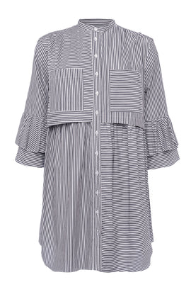 French Connection Summer Stripe Oversized Shirt Dress- Black/White