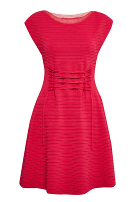 French Connection Katie Crepe Knit Tie Front Dress- Red