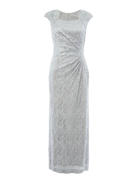 Tahari ASL Sequin Lace Cap Sleeve Gown- Silver Silverlic