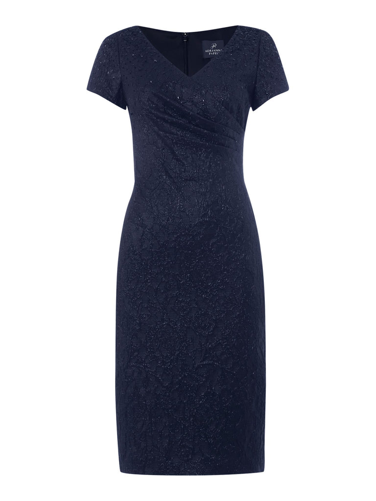 Adrianna Papell Jacquard dress with pleated wrap front- Blue