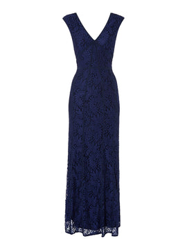 Shubette Lace V neck gown with piping detail- Blue