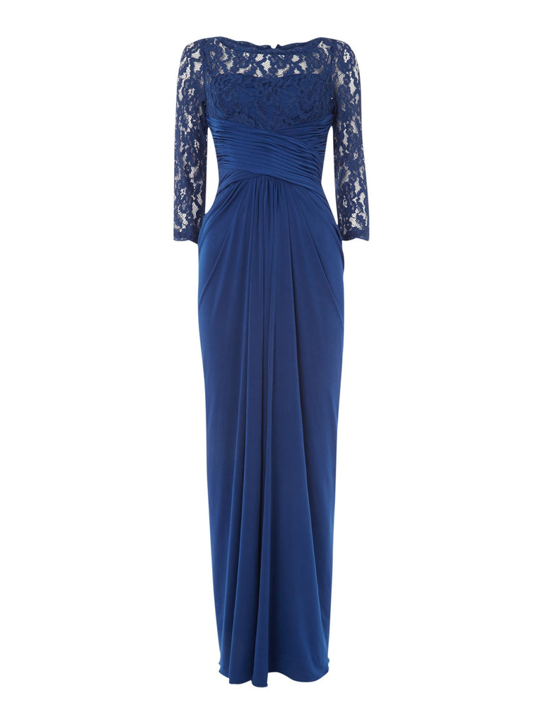 Adrianna Papell Rouched waist gown with lace top and 34 sleeves- Blue