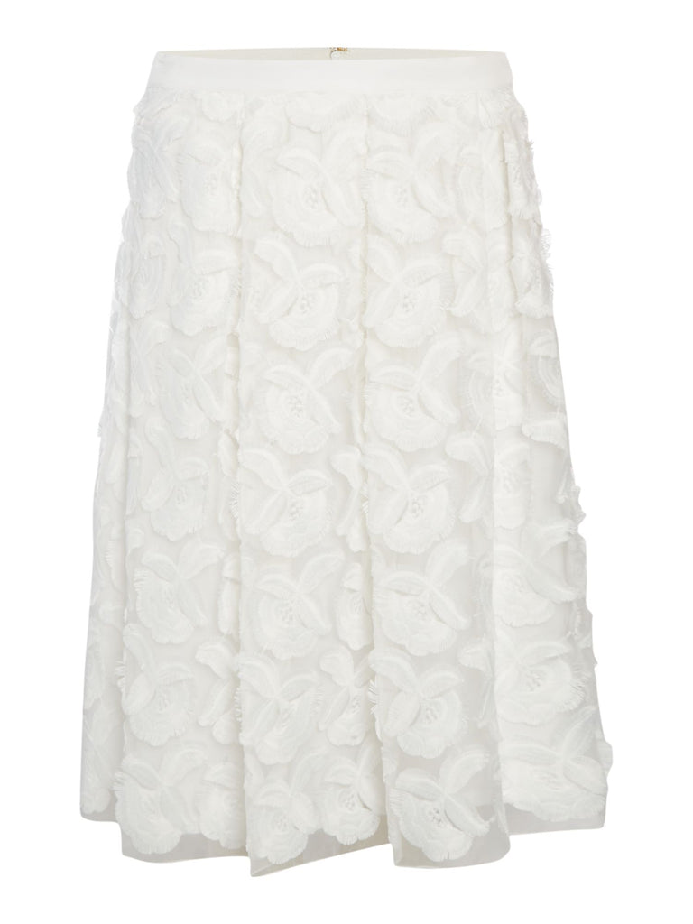 Episode A line skirt with 3D flowers- White