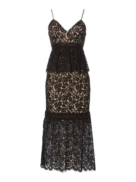 Bardot Sleeveless Lace Overlay Midi Dress- Black