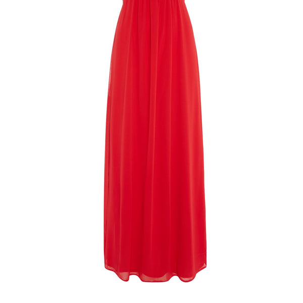 Elise Ryan Cap Sleeved Lace Shoulder Maxi Dress- Red