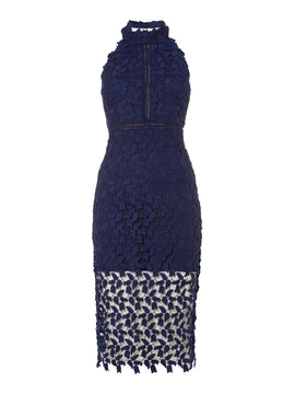 Bardot Sleeveless Halter Neck Embroidred Gemma Dress- Blue