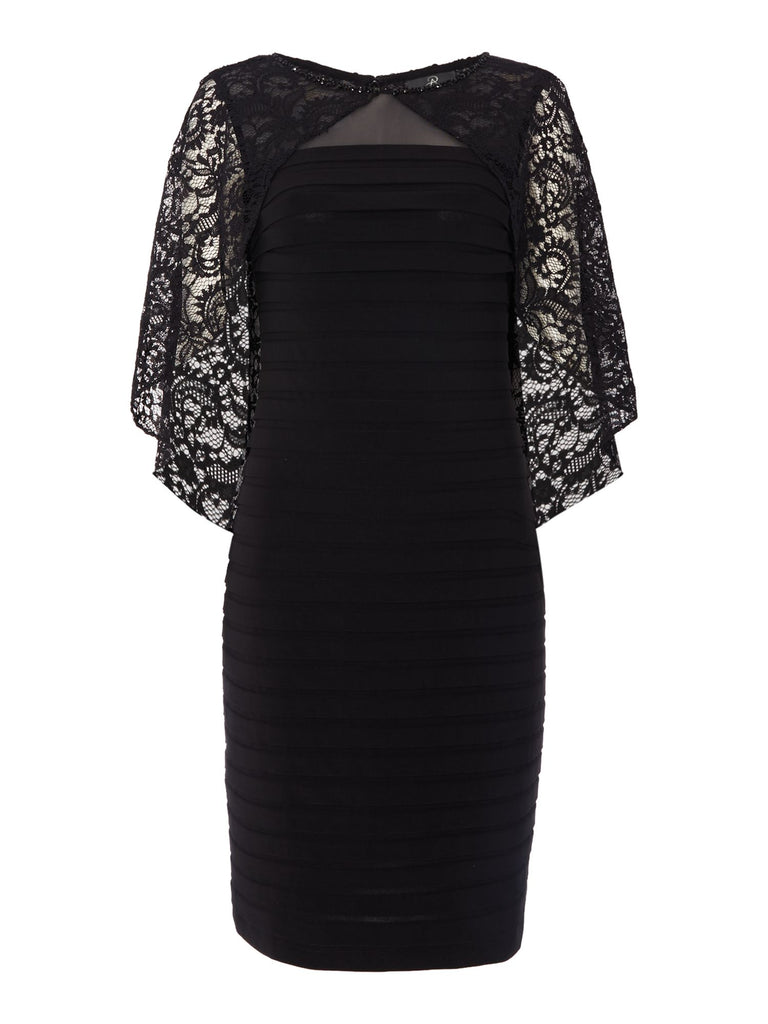 Adrianna Papell Pintuck Dress with Lace Cape- Black