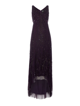 Adrianna Papell V neck gown with hi-lo hem- Amethyst