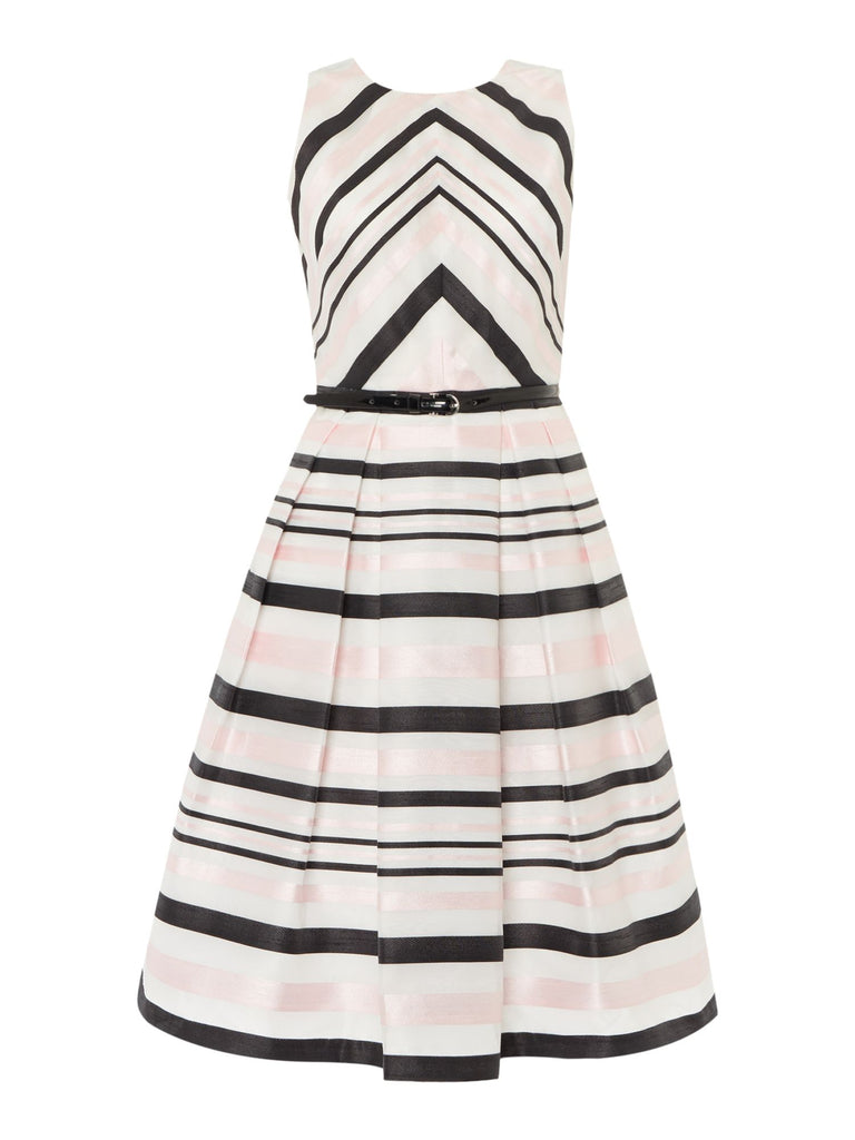 Eliza J Fit and flare contrast striped dress- Black Stripe