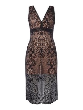 Bardot ornate sleeveless midi dress- Black