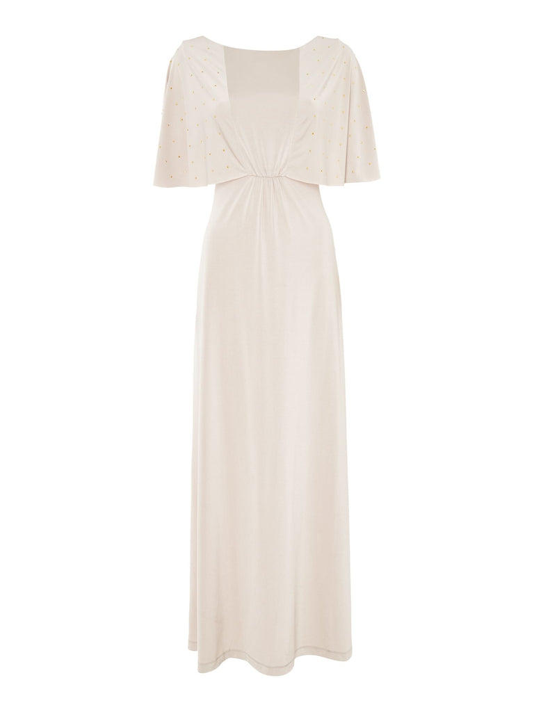 Biba Studded sleeve luxe occasion maxi dress- Champagne