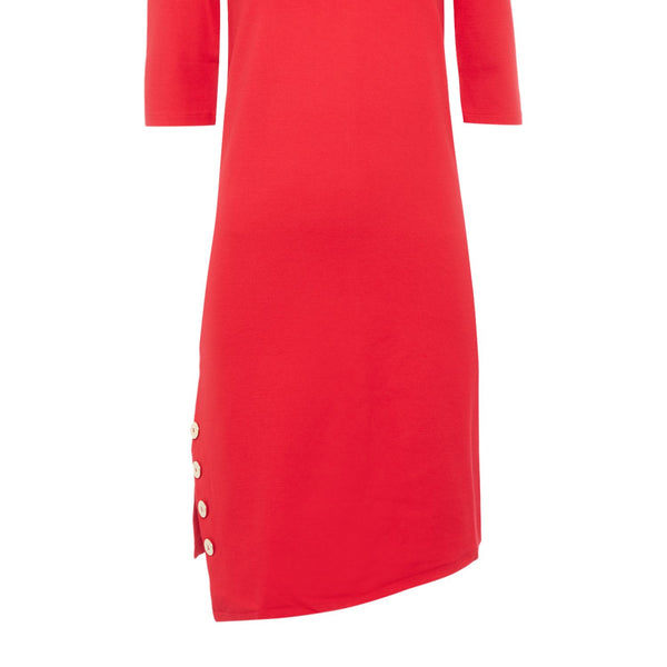 Armani Jeans Split side dress with button detail in 1468 rosso- Red